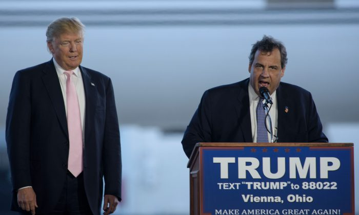 New Jersey Governor Chris Christie (R) introduces Donald Trump during a rally March 14, 2016 in Vienna Center, Ohio.  (Photo credit should read BRENDAN SMIALOWSKI/AFP/Getty Images)