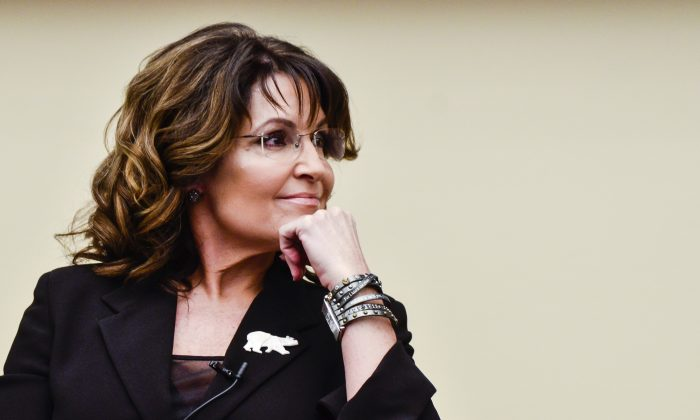 """Former Governor Sarah Palin speaks during the """"Climate Hustle"""" panel discussion at the Rayburn House Office Building on April 14, 2016 in Washington, DC. (Kris Connor/Getty Images)"""