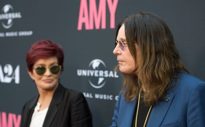 Television personality Sharon Osbourne (L) and musician Ozzy Osbourne arrive at the premiere of A24 Films 'Amy' at ArcLight Cinemas on June 25, 2015 in Hollywood, California. (Michael Buckner/Getty Images)