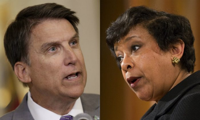 Left: Gov. Pat McCrory speaks during a news conference in Raleigh, N.C., Monday, May 9, 2016. (AP Photo/Gerry Broome); Right: Attorney General Loretta Lynch speaks during a news conference at the Justice Department in Washington, Monday, May 9, 2016. (AP Photo/Evan Vucci)