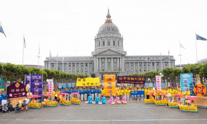 Falun Dafa procession in front of SF City Hall during World Falun Dafa Day Celebrations on May 7 (Lihui Zhou/Epoch Times)
