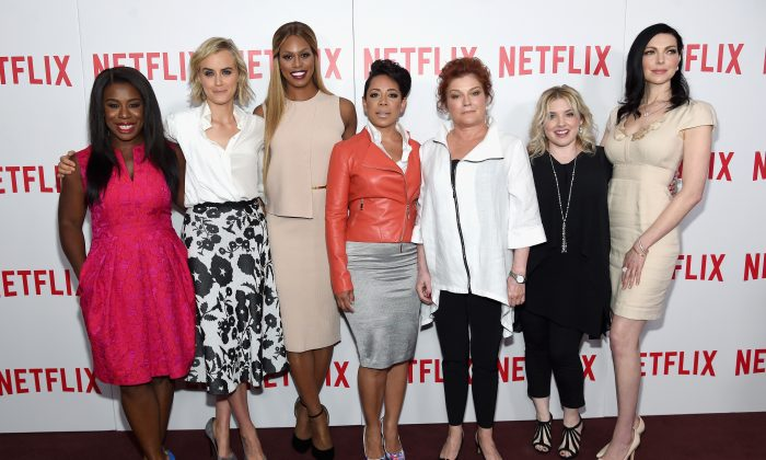 "(L-R) Actresses Uzo Aduba, Taylor Schilling, Laverne Cox, Selenis Leyva, and Kate Mulgrew, casting director Jennifer Euston, and actress Laura Prepon attend the ""Orange Is The New Black"" FYC screening at DGA Theater on August 11, 2015 in New York City.  (Photo by Jamie McCarthy/Getty Images)"
