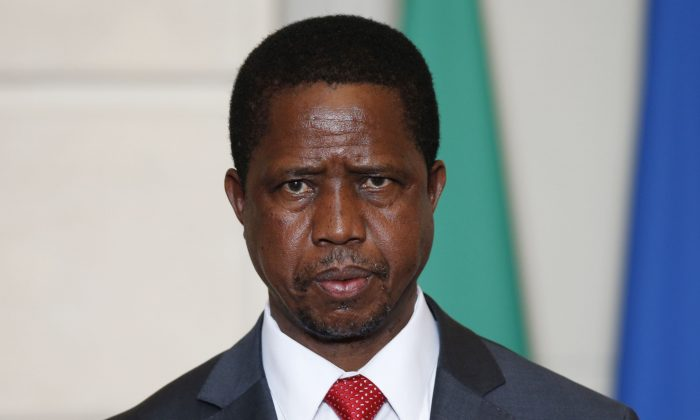 Zambia's President Edgar Lungu a signing ceremony at the Elysee Palace in Paris, France, on Feb. 8, 2016. (Philippe Wojazer/AFP/Getty Images)