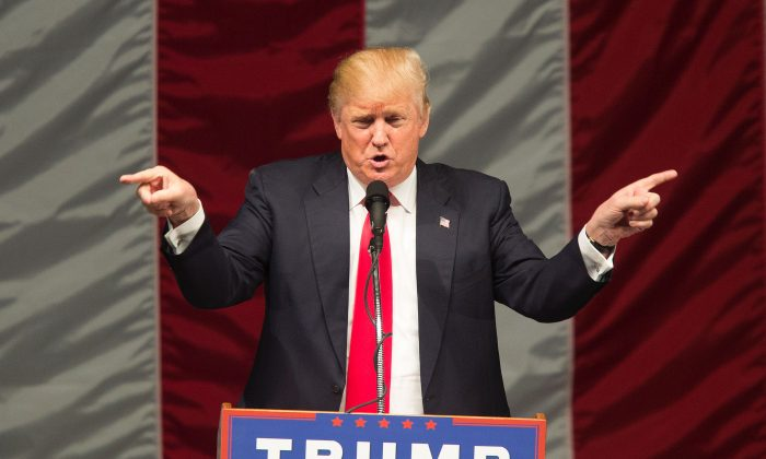 Republican presidential candidate Donald Trump speaks during a campaign rally at the Orange County Fair and Event Center, April 28, 2016, in Costa Mesa, California. (DAVID MCNEW/AFP/Getty Images)