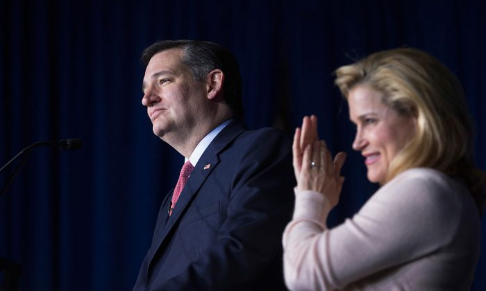 With his wife Heidi by his side, Republican presidential candidate Sen. Ted Cruz (R-TX) during his election night watch party at the Crowne Plaza Downtown Union Station where he announced he was suspending his bid for the Republican presidential nomination on May 3, 2016 in Indianapolis, Indiana.  (Scott Olson/Getty Images)