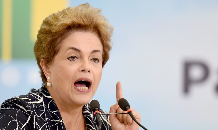 Brazilian President Dilma Rousseff during a ceremony at the Planalto Palace in Brasilia on May 6, 2016. (Evaristo Sa/AFP/Getty Images)