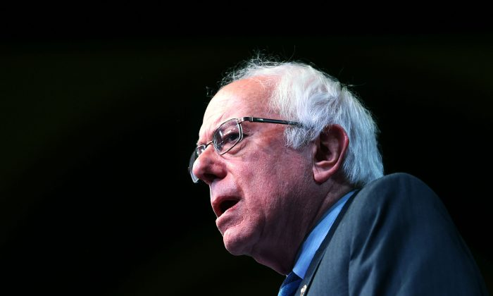 US Democratic presidential candidate Bernie Sanders speaks during a rally in Atlantic City, New Jersey, on May 9, 2016. / AFP / Jewel SAMAD        (Photo credit should read JEWEL SAMAD/AFP/Getty Images)