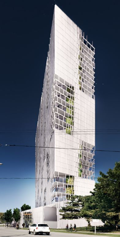 A Rendering of Lake + East glass condo tower.  (Courtesy of Symmetry Developments)