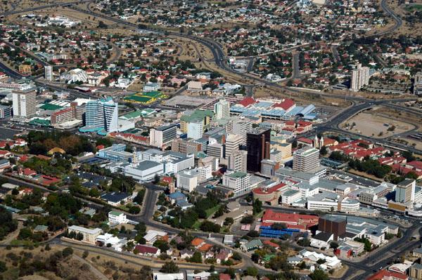 Close-up aerial photo of Central Windhoek, Namibia, on May 25, 2005. (Brian McMorrow/Wikimedia, CC BY-SA)