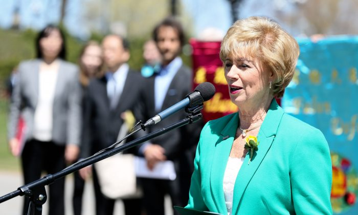 Liberal MP Judy Sgro speaks at a rally on Parliament Hill in Ottawa on May 10, 2016, to celebrate Falun Dafa Day. This year marks 24 years since the public introduction of the Falun Dafa spiritual discipline on May 13, 1992. (Jonathan Ren/Epoch Times)