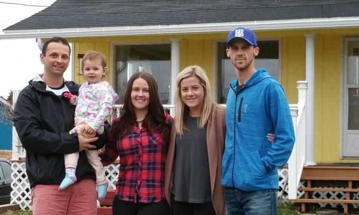 (Left to Right) Brad Foley (holding Lyla Foley), Anna Foley, Reagan Gale, and Wallace Gale in Codroy Valley, Newfoundland, on May 10, 2016. (Tara MacIsaac/Epoch Times)