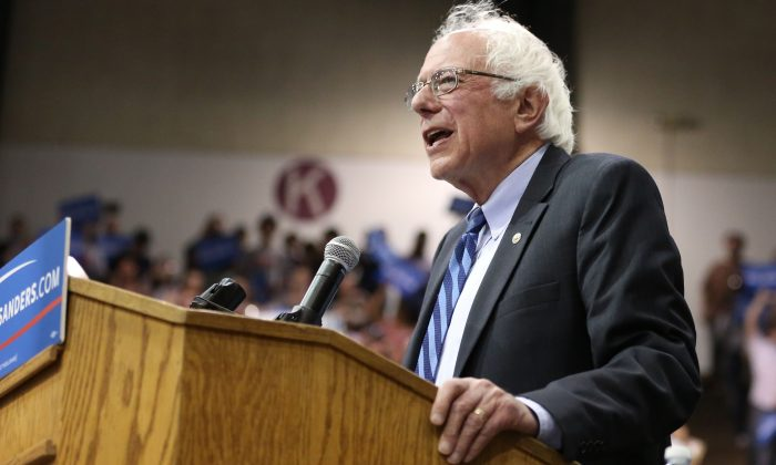 Democratic presidential candidate, Sen. Bernie Sanders, I-Vt., speaks during a campaign rally on Tuesday, May 10, 2016, in Salem, Ore. (Danielle Peterson/Statesman-Journal via AP)