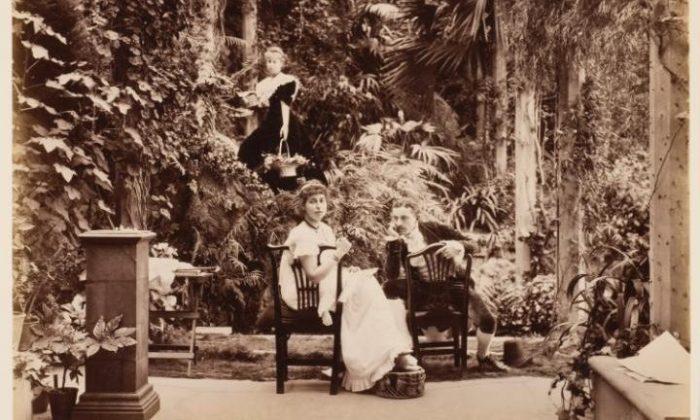 HRH Princess Alexandra, HRH Princess Victoria & Mr Savile, 'Two's company and three's none' in 'Tableaux Vivants Devonport' c1892-1893, by unknown photographer. (Courtesy of Wilson Centre for Photography)