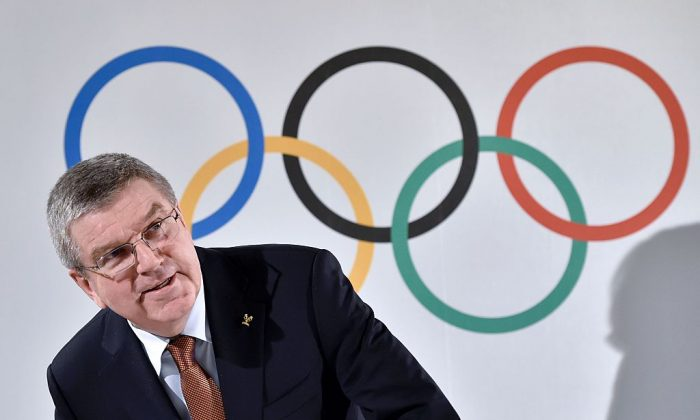 International Olympic Committee (IOC) President Thomas Bach arrives to a press conference closing an executive meeting on March 2, 2016 in Lausanne. (FABRICE COFFRINI/AFP/Getty Images)