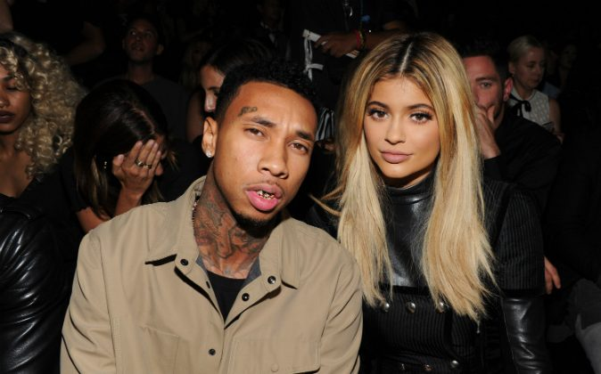 Tyga (L) and Kylie Jenner attend the Alexander Wang Spring 2016 fashion show during New York Fashion Week at Pier 94 on September 12, 2015 in New York City. (Photo by Craig Barritt/Getty Images)
