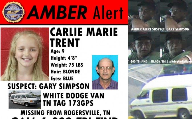 """An updated AMBER alert by the Tennessee Bureau of Investigations (TBI) says missing Carlie Trent, 9, is believed to be in """" imminent danger of serious bodily harm or death."""" (Photos courtesy of TBI)"""