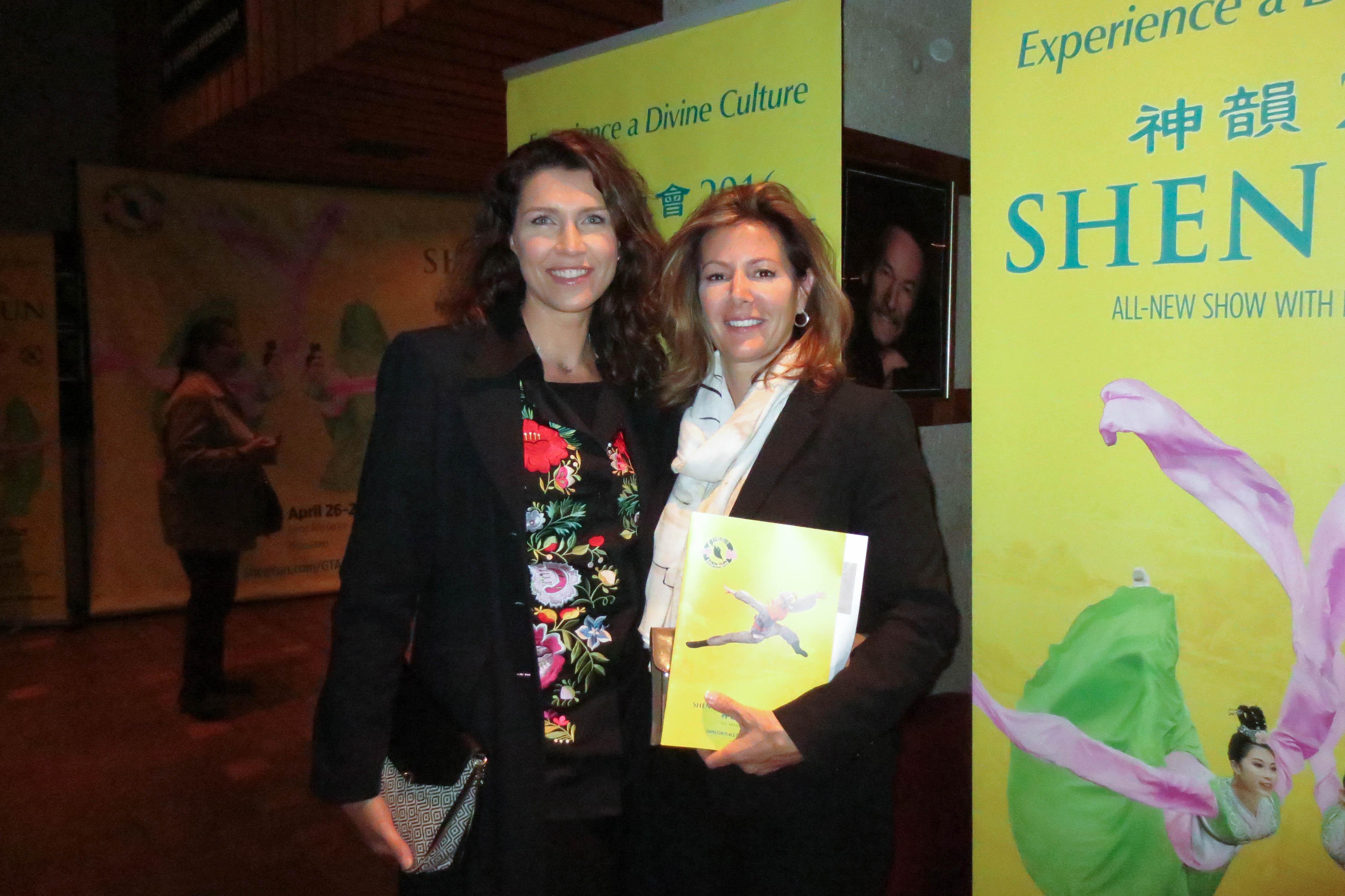 Friends Helga Tomko and Caroline Hemel had an inspiration experience watching Shen Yun at the Hamilton Place Theatre, May 11, 2016. (Madalina Hubert/Epoch Times)