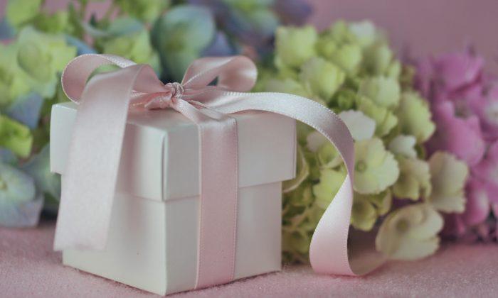 Gift and Hydrangeas (cath5/Shutterstock)