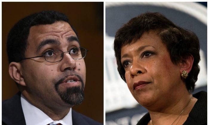 Left: Education Secretary Dr. John King, Jr. on Capitol Hill in Washington on Feb. 25, 2016, (AP Photo/Susan Walsh); Right: Attorney General Loretta Lynch on March 24, 2016, in Washington. (Alex Wong/Getty Images)