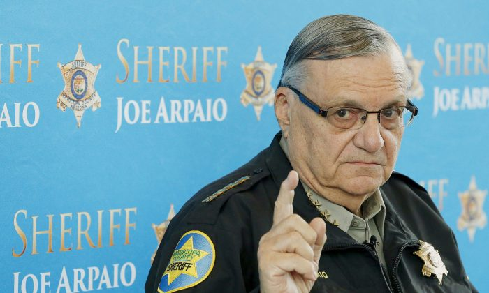 Maricopa County Sheriff Joe Arpaio speaks at a news conference at the Sheriff's headquarters in Phoenix on Dec. 18, 2013. (AP Photo/Ross D. Franklin)
