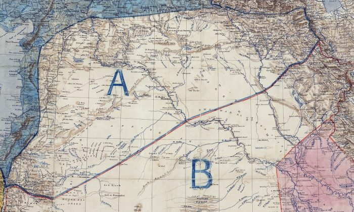 The signed Sykes-Picot Agreement map. (Royal Geographic Society, Public Domain)