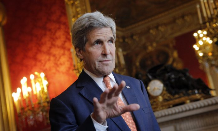 Secretary of State John Kerry speaks to journalists before a meeting with French Foreign Minister Jean-Marc Ayrault, in Paris, on May 9, 2016. (AP Photo/Christophe Ena)