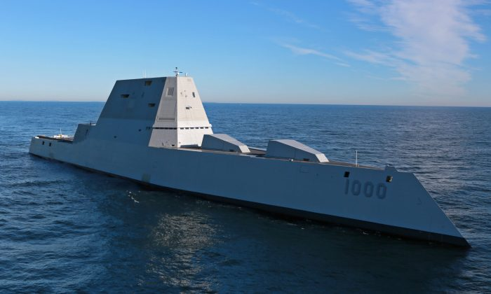 The USS Zumwalt (DDG 1000) is underway for the first time conducting at-sea tests and trials in the Atlantic Ocean on Dec. 7, 2016. The Zumwalt is the largest destroyer ever built for the U.S. Navy. (U.S. Navy/General Dynamics Bath Iron Works via Getty Images)