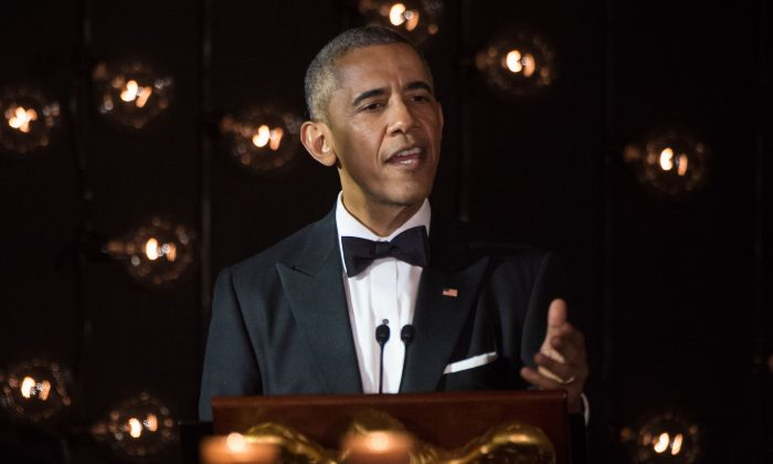 President Barack Obama speaks during a state dinner with Nordic leaders at the White House in Washington, D.C., on May 13, 2016. (Nicholas Kamm/AFP/Getty Images)