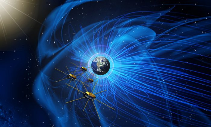 Four identical NASA spacecraft fly near the sun-facing boundary of Earth's magnetic field (the blue wavy lines). (NASA)