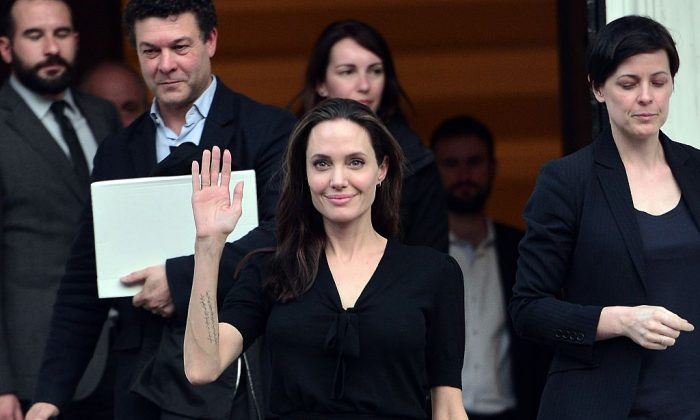 Angelina Jolie leaves the Greek Prime minister's office in Athens following a meeting with Greek Prime minister on March 16, 2016. (LOUISA GOULIAMAKI/AFP/Getty Images)