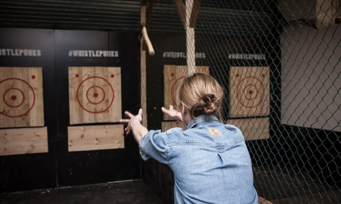 Let off steam and have fun axe throwing at Whistle Punks, London's new urban axe-throwing venue. (Courtesy of Whistle Punks)