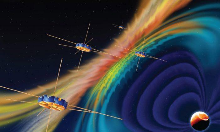 Artist rendition of MMS spacecraft. (NASA)