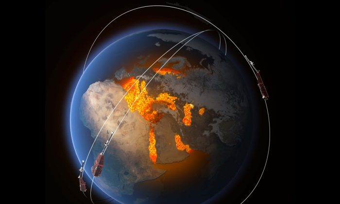 ESA's Swarm constellation reveals new rapid changes of our magnetic field, tied directly to the heart of our planet's molten iron core. (ESA/ATG Medialab)