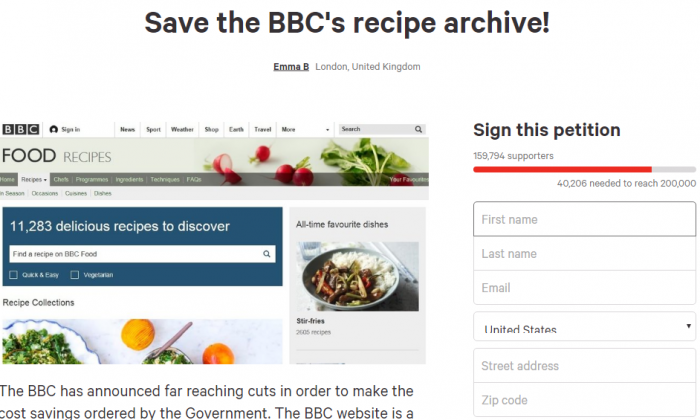 The petition to save the BBC Food recipes on Change.org. (Screenshot of Change.org)