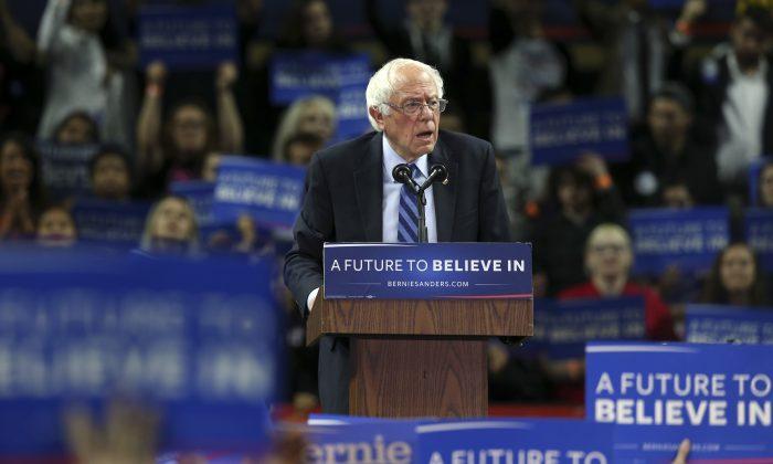 Democratic presidential candidate Sen. Bernie Sanders (I-Vt.) speaks at a campaign rally in Piscataway, N.J., on May 8, 2016. (AP Photo/Mel Evans)