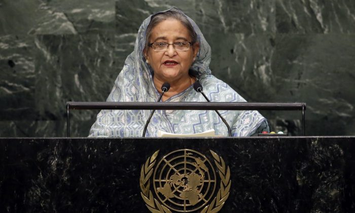 Bangladesh's Prime Minister Sheikh Hasina Wajed addresses the 70th session of the U.N. General Assembly, at U.N. Headquarters, in New York City, on Sept. 30, 2015. (AP Photo/Richard Drew)