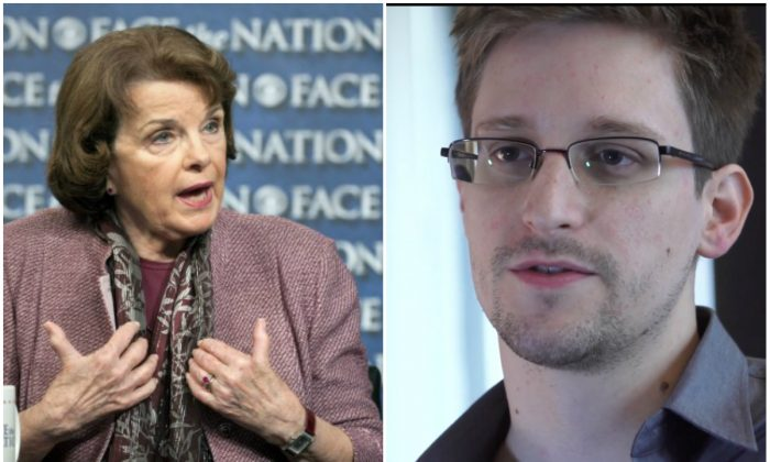 Chair of the Senate Intelligence Committee, Sen. Dianne Feinstein (D-Calif.), and NSA leaker Edward Snowden. (AP Photo/CBS News, Chris Usher and AP Photo/The Guardian, Glenn Greenwald and Laura Poitras)