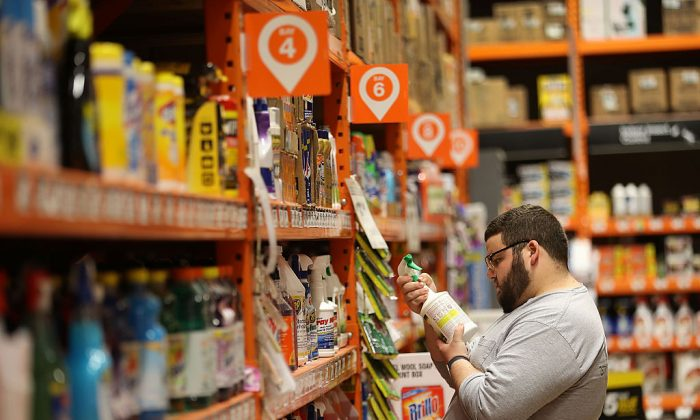 Hector Ponte shops for cleaning supplies in a Home Depot store on May 17, 2016 in Miami, Florida. (Joe Raedle/Getty Images)