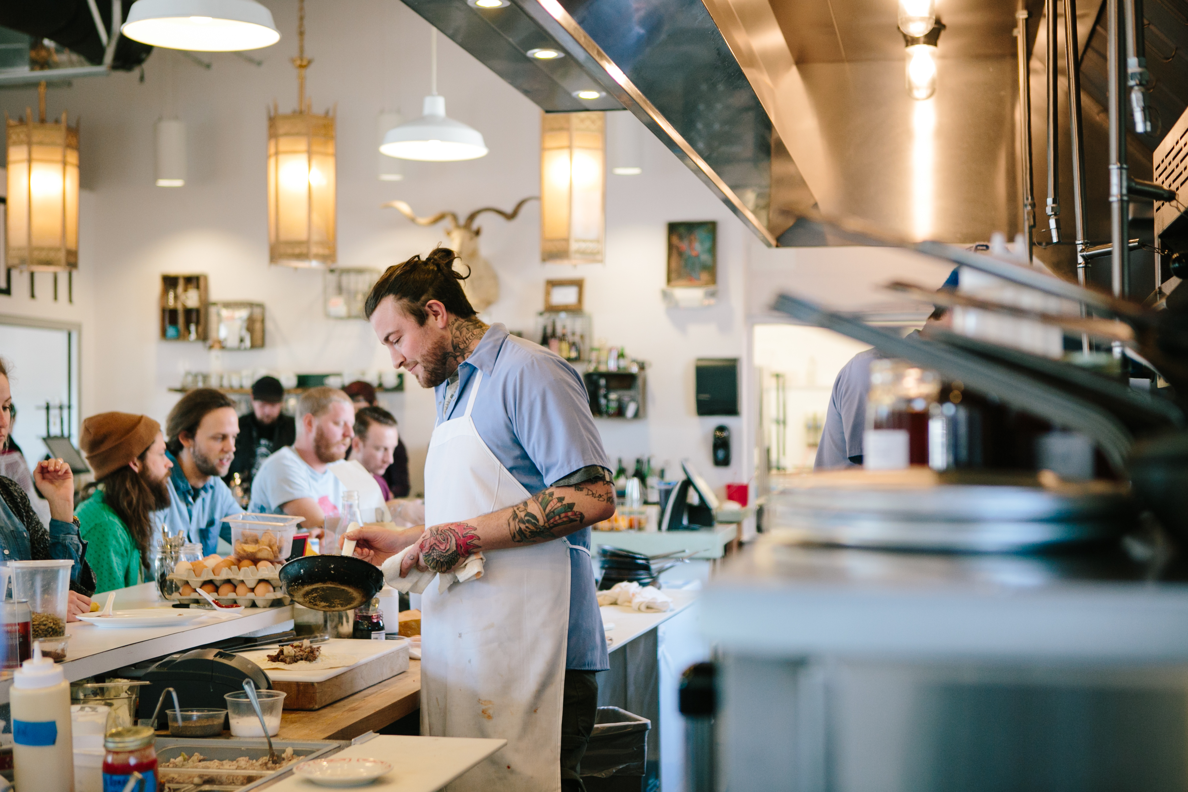 Chef Jonathan Brooks whips up inventive breakfasts at Milktooth. (Courtesy of Milktooth)