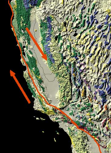 Map of the San Andreas Fault, showing relative motion. (USGS, Public Domain)