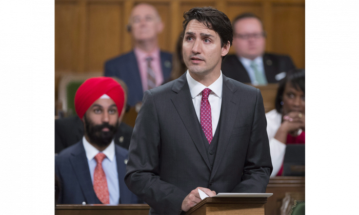 Prime Minister Justin Trudeau looks toward the public gallery in the House of Commons on May 18, 2016 as he formally apologizes for a 1914 government decision that barred most of the passengers of the Komagata Maru from entering Canada. (The Canadian Press/Adrian Wyld)