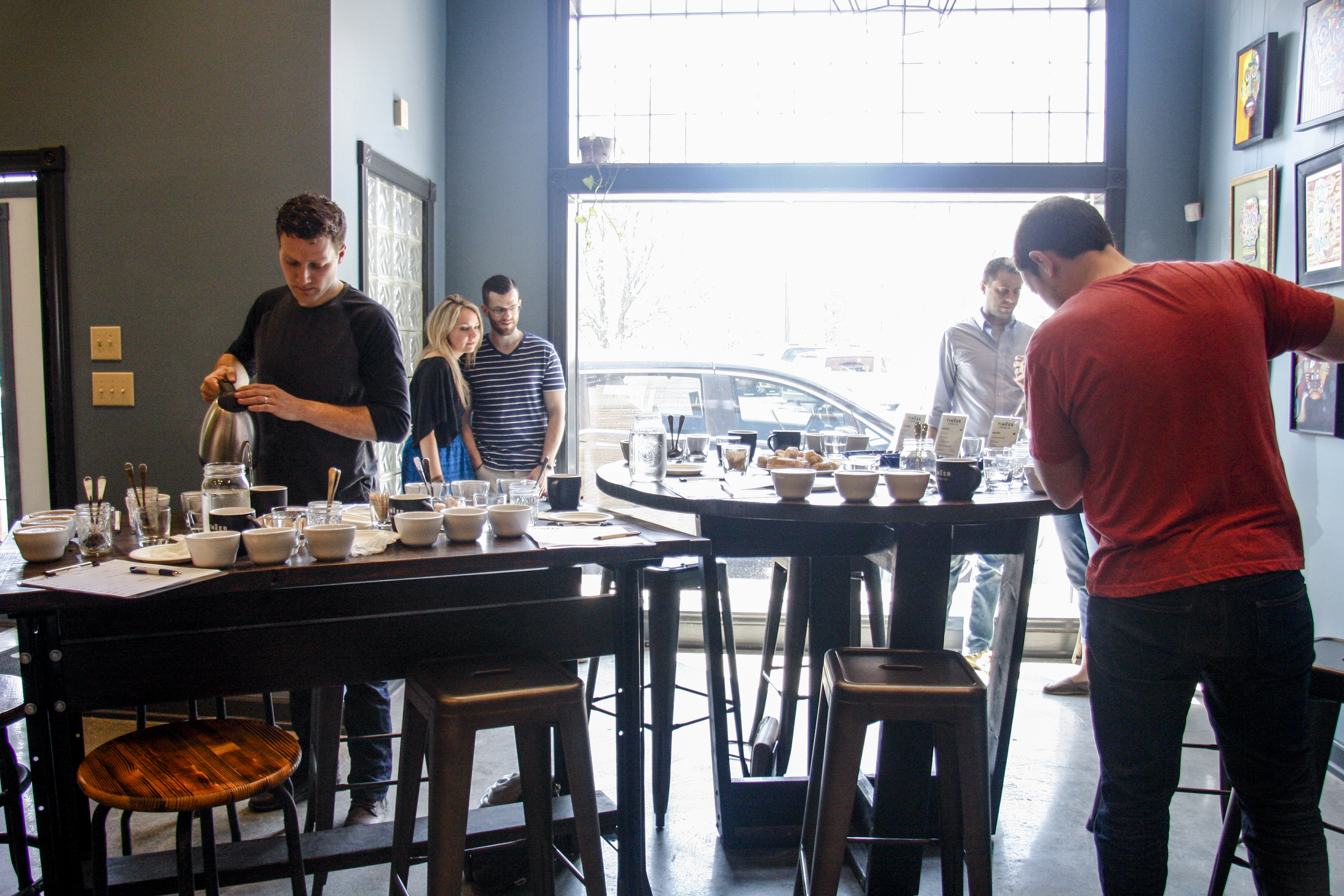 Attendees at a cupping class held at Tinker Coffee. (Annie Wu/Epoch Times)