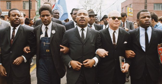 Martin Luther King Jr. (C) leading march from Selma to Montgomery to protest lack of voting rights for African Americans. Beside King are John Lewis (R), Reverend Jesse Douglas (2nd R), James Forman (2nd L), and Ralph Abernathy (L). (Steve Schapiro/Corbis via Getty Images)