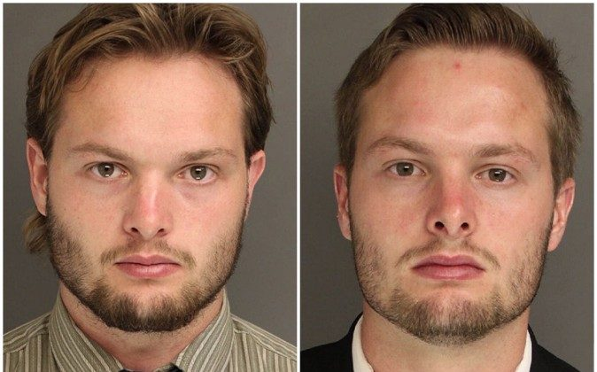 Caleb (left) and Daniel Tate, 22-year old twin brothers from Pennsylvania set off a series of explosions from homemade bombs, or 'IEDs' back in December of 2015. (Chester County District Attorney's Office)
