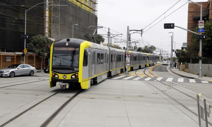 A test train is pictured at the Metro Expo Line in Santa Monica, Calif., on May 18, 2016. (AP Photo/Nick Ut)
