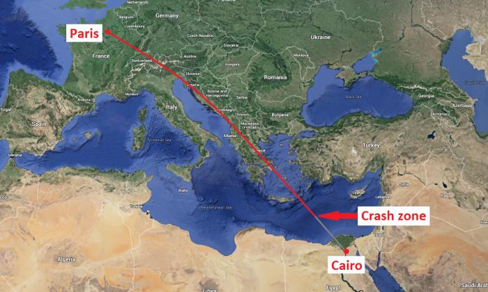Estimated EgyptAir Flight 804 crash site . (Screenshot of Google Maps/Markings by Epoch Times)