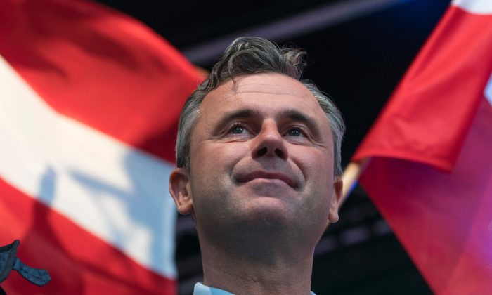 Right-wing Austrian Freedom Party (FPOe) presidential candidate Norbert Hofer during his final election campaign rally at the Viktor Adler Markt in Vienna, Austria, on May 20,2016. The Austrian presidential elections run off will take place on 22 May 2016. (Joe Klamar/AFP/Getty Images)