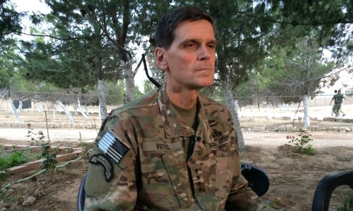 Army Gen. Joseph Votel speaks to reporters on May 21, 2016, during a secret trip to Syria. Votel said he is encouraged by progress in building local Syrian Arab and Kurdish forces to fight the Islamic State. (AP Photo/Robert Burns)