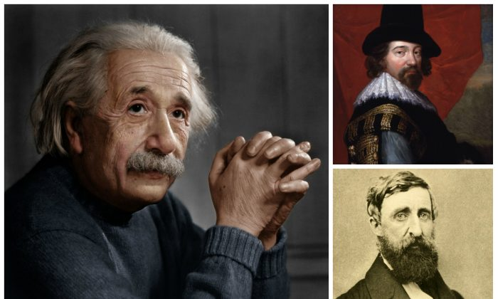 L-R: Albert Einstein (InformiguelCarreño, CC BY-SA 4.0), Francis Bacon by unknown artist and Henry David Thoreau in August 1861 at his second and final photographic sitting (both Public Domain).