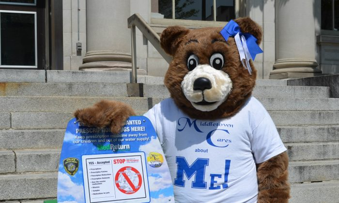 Middletown Care Bear at launch of MedReturn, a collection box for unwanted prescription drugs, at the Middletown Police Department on May 20, 2016. (Yvonne Marcotte/Epoch Times)